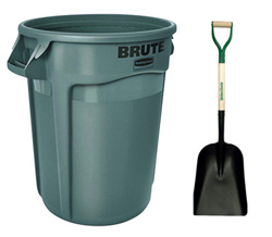 Shovel and Garbage Can
